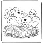 Disegni da colorare Temi - Galline con uova pasquali