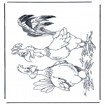 Disegni da colorare Animali - Gallo e gallina