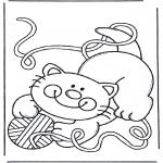 Disegni da colorare  Animali - Gatto con gomitolo di lana