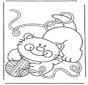 Gatto con gomitolo di lana