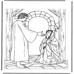 Disegni biblici da colorare - Gesù e la donna malata