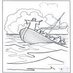 Disegni biblici da colorare - Gesù sullacqua 2