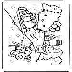Personaggi di fumetti - Hello Kitty nella neve