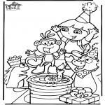 Disegni da colorare Temi - Il compleanno di Dora