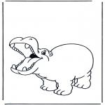Disegni da colorare Animali - Ippopotamo allegro