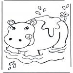 Disegni da colorare Animali - Ippopotamo nellacqua