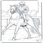 Disegni da colorare Animali - Jockey a cavallo