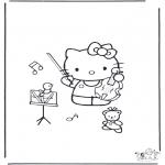Disegni da colorare Vari temi - Kitty con violoncino