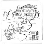 Disegni da colorare Temi - La casa della lepre di Pasqua