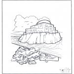 Disegni biblici da colorare - La casa sulla sabbia e sulla rocca