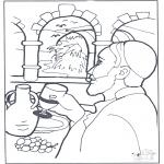 Disegni biblici da colorare - Lacqua si trasformò in vino