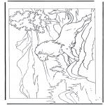 Disegni da colorare Animali - Leone sulla roccia