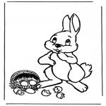 Disegni da colorare Temi - Lepre di Pasqua con le uova 1