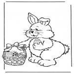 Disegni da colorare Temi - Lepre di Pasqua con le uova 2