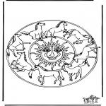 Disegni da colorare Mandala - Mandala - cavalli 1
