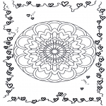 Disegni da colorare Mandala - Mandala cuori 2
