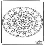 Disegni da colorare Mandala - Mandala cuori 6