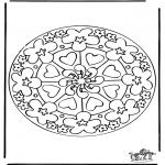 Disegni da colorare Mandala - Mandala cuori 7
