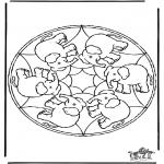 Disegni da colorare Mandala - Mandala elefante