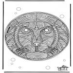 Disegni da colorare Mandala - Mandala leone