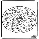 Disegni da colorare Mandala - Mandala uccelli