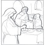 Disegni biblici da colorare - Maria, Marta e Gesù