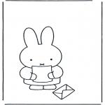 Disegni per i piccini - Miffy con una lettera