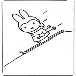 Disegni per i piccini - Miffy sugli sci