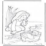 Disegni biblici da colorare - Mosè e sua madre