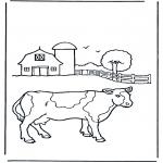Disegni da colorare  Animali - Mucca alla fattoria