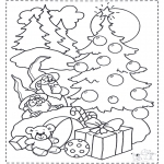 Disegni da colorare Natale - Nani e albero di Natale