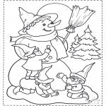 Disegni da colorare Inverno - Nano e pupazzo di neve