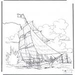 Disegni da colorare Vari temi - Nave in battaglia