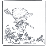 Disegni da colorare Vari temi - Nel giardino col forcone