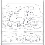 Disegni da colorare Animali - Orso bianco con piccolo