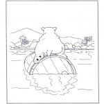 Disegni da colorare Animali - Orso bianco su barile