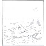 Disegni da colorare Animali - Orso bianco sul ghiaccio