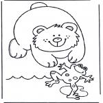 Disegni da colorare Animali - Orso e rana