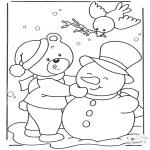 Disegni da colorare Inverno - Orso nella neve