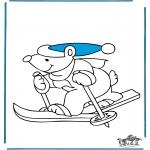 Disegni da colorare Inverno - Orso sciando