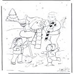 Disegni da colorare Inverno - Padre con pupazzo di neve