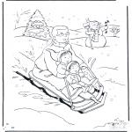 Disegni da colorare Inverno - Padre sulla slitta