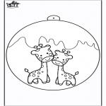 Disegni da colorare Natale - Palla di Natale - Giraffa