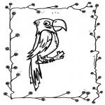 Disegni da colorare Animali - Pappagallo seduto sul bastone