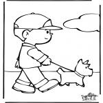 Disegni da colorare  Animali - Passeggiata col cane
