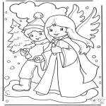 Disegni da colorare Inverno - Passeggiata nella neve