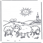 Disegni da colorare  Animali - Pecore al sole