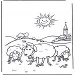 Disegni da colorare Vari temi - Pecore nel prato