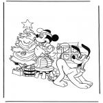 Personaggi di fumetti - Pluto e Topolino con albero di Natale