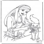 Disegni da colorare Vari temi - Principessa con gatto